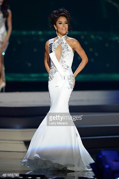 Miss Guam Brittany Bell participtaes in the 63rd Annual Miss Universe Preliminary Show at Florida International University on January 21, 2015 in...