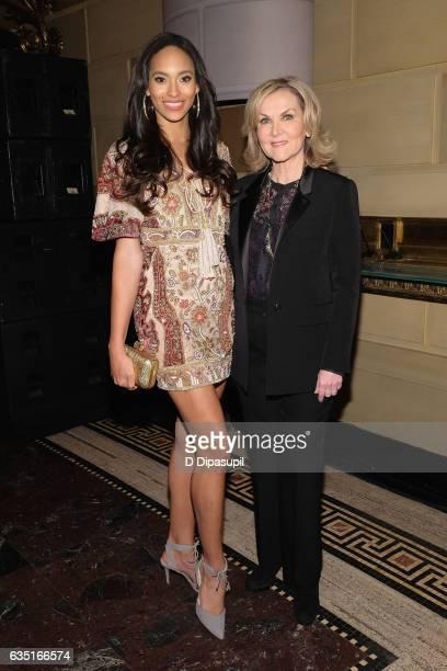 Miss Haiti 2016 Raquel Pelissier and designer Sherri Hill attend the Sherri Hill NYFW Fall 2017 Runway Show during New York Fashion Week at Gotham...