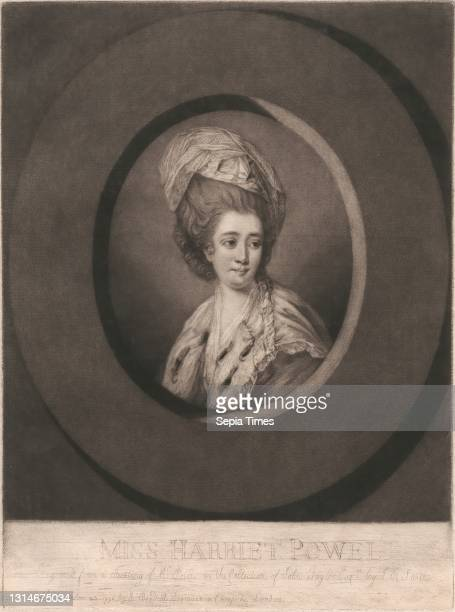 Miss Harriet Powell, Print made by John Raphael Smith, 1752–1812, British, after Matthew William Peters, 1742–1814, British Mezzotint on moderately...
