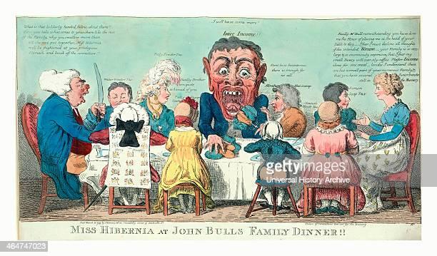 Miss Hibernia At John Bulls Family Dinner Cruikshank Isaac 17561811 Engraving 1799 Miss Hibernia Seated At Right Wearing Dress Decorated With Irish...