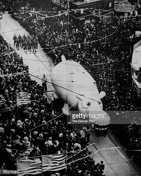 NOV 20 1956 Miss Hippo one of 40 balloons and novelties to be featured in the Denver PostDenver Retail Merchants Assn Santa Claus parade Saturday Dec...
