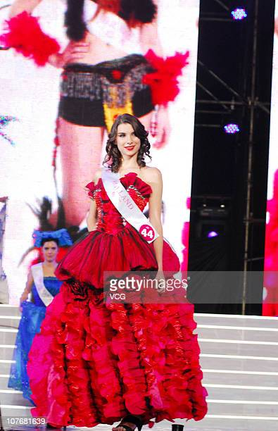 Miss Holland poses during the 37th Miss Tourism International Global Final at Zhanjiang Sports Center on December 17 2010 in Zhanjiang Guangdong...