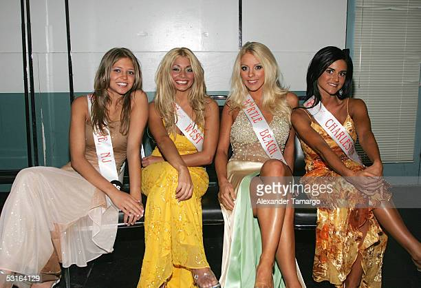 Miss Hooters International contestants pose backstage during the 2005 Hooters International Swimsuit Pageant at the Jackie Gleason Theatre for the...
