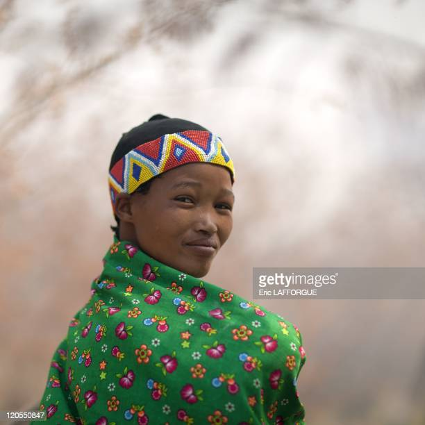 Miss Huce Kgao A Woman From The San Tribe in Namibia on August 22 2010 San are an ethnic group of South West Africa They live in the Kalahari Desert...