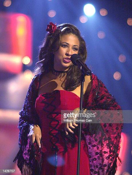 Miss Illinois Erika Harold performs a song from the opera Carmen during the talent portion of the Miss America Pageant September 21 2002 in Atlantic...