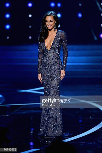 Miss Illinois USA Stacie Juris competes in the evening gown competition during the 2013 Miss USA pageant at PH Live at Planet Hollywood Resort Casino...