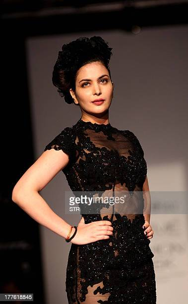 Miss India International 2011 Ankita Shorey showcases a creation by designer Rocky Star on the third day of the Lakme Fashion Week Winter/Festival...