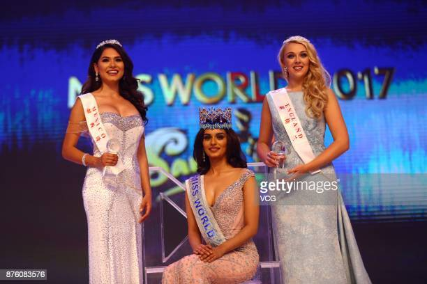 Miss India Manushi Chhilar celebrates after winning the 67th Miss World final contest on November 18 2017 in Sanya Hainan Province of China