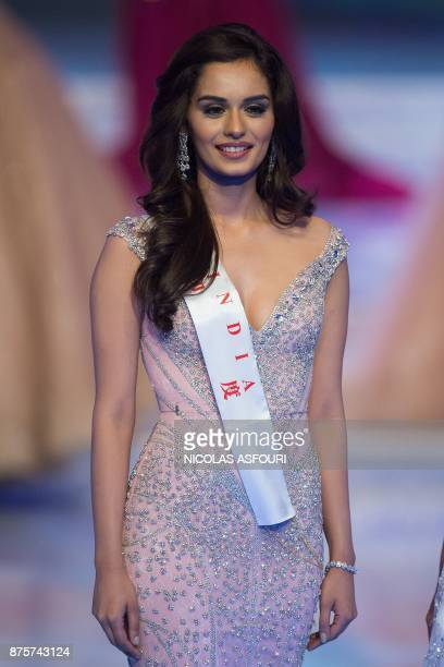 Miss India Manushi Chhilar pose during the 67th Miss World contest final in Sanya on the tropical Chinese island of Hainan on November 18 2017 / AFP...