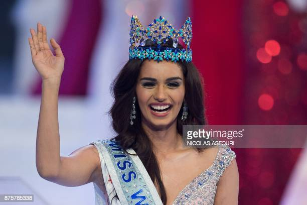 Miss India Manushi Chhilar wins the 67th Miss World contest final in Sanya on the tropical Chinese island of Hainan on November 18 2017 / AFP PHOTO /...