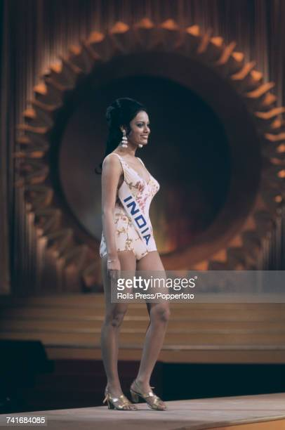 Miss India Prema Narayan pictured competing in the Miss World 1971 beauty pageant at the Royal Albert Hall in London on 10th November 1971