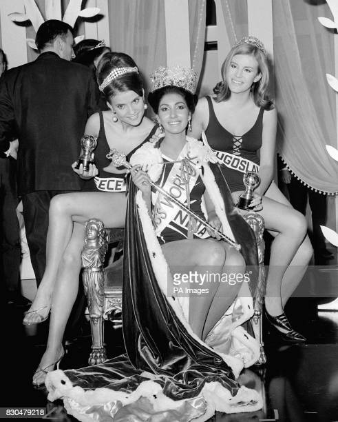 Miss India Reita Faria, 23-year-old medical student and the first Indian girl to be crowned Miss World, with the runners-up, Miss Yugoslavia Nikica...