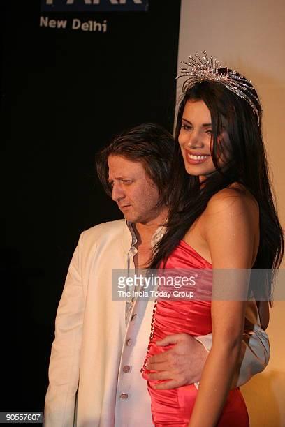 Miss India Universe Neha Kapoor with designer Rohit Bal at Elite's third anniversary party at Aqua Park Hotel New Delhi