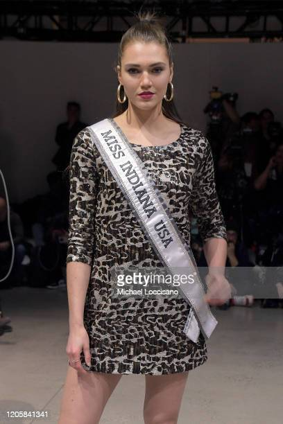 Miss Indiana 2020 Alexis Lete attends the Sukeina front row during New York Fashion Week The Shows at Gallery I at Spring Studios on February 12 2020...