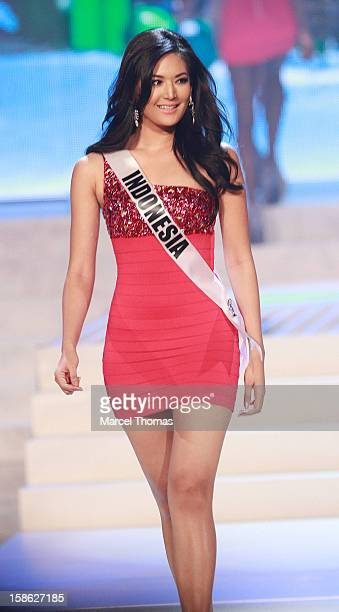 Miss Indonesia 2012 Maria Selena is introduced during the 2012 Miss Universe Pageant at Planet Hollywood Resort Casino on December 19 2012 in Las...