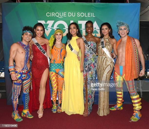 Miss Indonesia Frederika Cull Miss Nepal Pradeepta AdhikariMiss South Africa Zozibini Tunzi and Miss India Vartika Singh pose with cast members of...