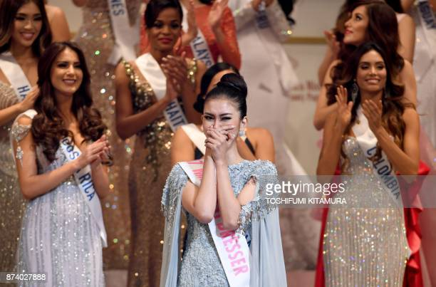 Miss Indonesia Kevin Lilliana reacts as she is crowned 2017 Miss International during the Miss International Beauty Pageant final in Tokyo on...