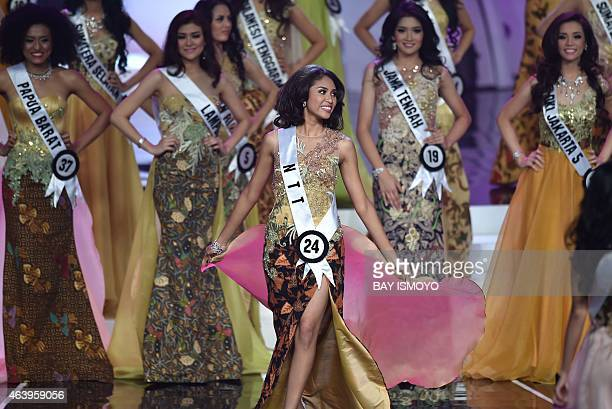 Miss Indonesia participants perform during the grand final of the Miss Indonesia 2015 beauty contest in Jakarta on February 20 2015 Miss Indonesia...