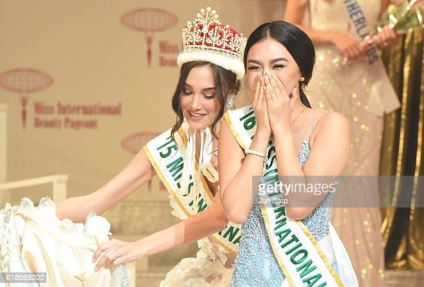 Miss International 2015 Edymar Martinez and Kylie Verzosa of Philippines during the 56th Miss International Beauty Pageant at Tokyo Dome City Hall on...