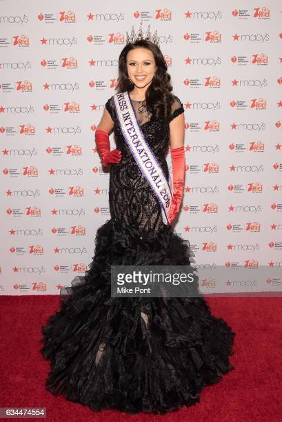 Miss International 2016 Amanda Moreno attends the American Heart Association's Go Red for Women Red Dress Collection 2017 during New York Fashion...