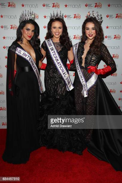 Miss International 2016 Priscilla Pruitt Miss International 2016 Amanda Moreno and Miss Teen International 2016 Garin Harris attend the American...