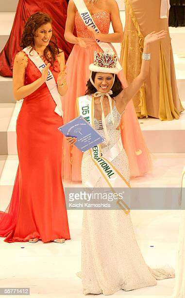 Miss International Beauty Pageant 2005 winner Miss Philippines Precious Lara Quigaman gestures as she wins the 2005 Miss International beauty pageant...