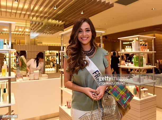 Miss International contestant Miss France Charlotte Pirroni shops at Tokyo's Isetan department store on October 21 2015 The Miss International beauty...