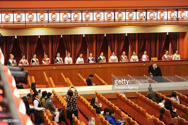 Miss International contestants are seen at the traditional theater Kabukiza as they wait for the Samurai Award ceremony during the 28th Tokyo...
