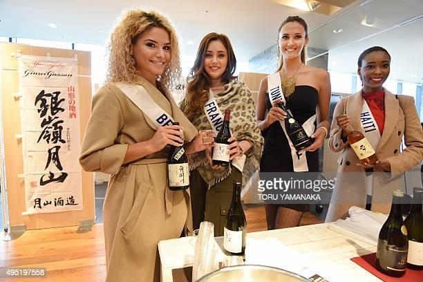 Miss International contestants Miss Belgium Elda Nushi Miss France Charlotte Pirroni Miss Tunisia Wahiba Arres and Miss Haiti Marie Viannye Manard...