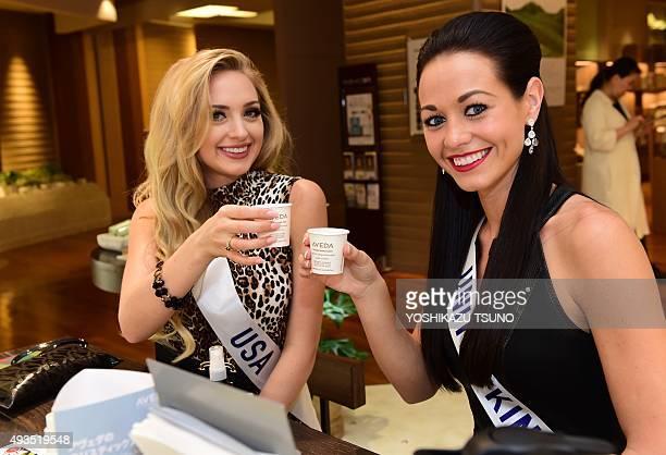 Miss International contestants, Miss USA Lindsay Becker and Miss United Kingdam Sophie Loudon drink herb tea at Tokyo's Isetan department store on...