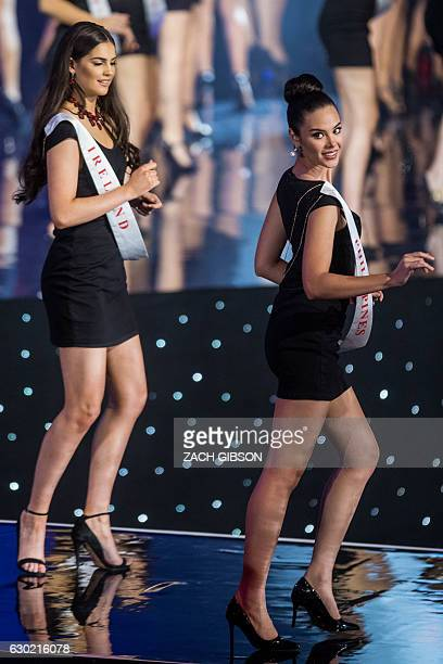 Miss Ireland Niamh Kennedy and Miss Philippines Catriona Elisa Gray take part in a dance routine during the Miss World 2016 pageant at the MGM...