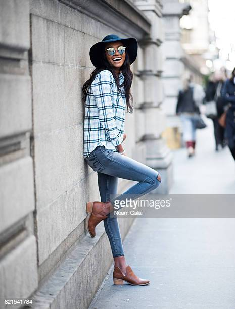 Miss Israel 2013 Yityish Titi Aynaw poses for a photo outside Bryant Park on November 6 2016 in New York City