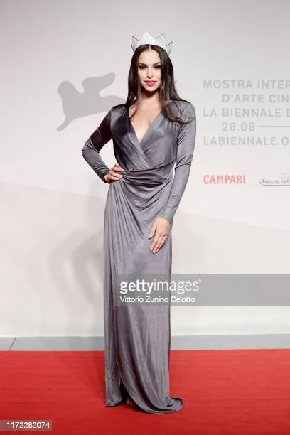 Miss Italia Carlotta Maggiorana walks the red carpet ahead of the Chiara Ferragni Unposted screening during the 76th Venice Film Festival at Sala...