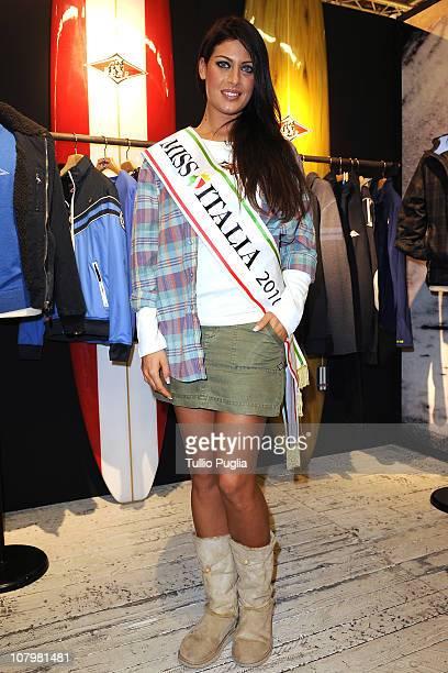 Miss Italia Francesca Testasecca attends Bear presentation during the Pitti Immagine Uomo 79 at the Fortezza da Basso on January 11 2011 in Florence...