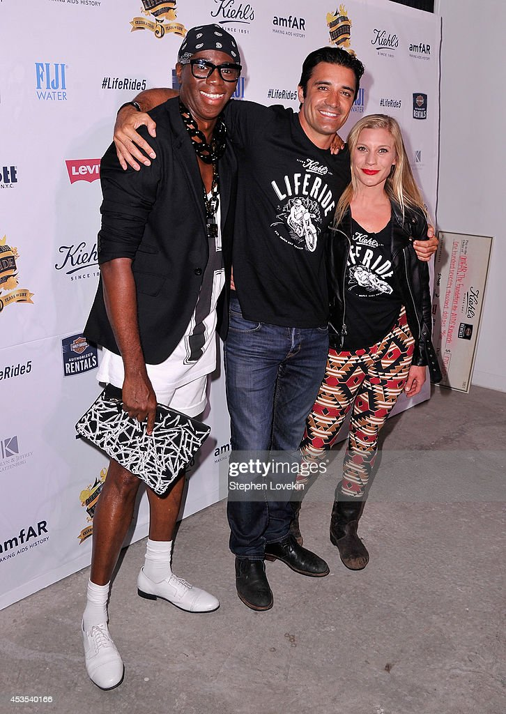Miss J. Alexander, actors Gilles Marini and Katee Sackhoff attend Kiehl's LifeRide for amfAR co-hosted by FIJI Water on August 12, 2014 in New York City.