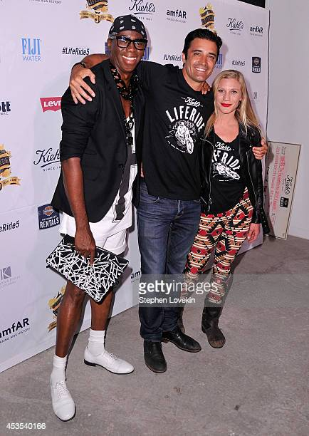 Miss J. Alexander, actors Gilles Marini and Katee Sackhoff attend Kiehl's LifeRide for amfAR co-hosted by FIJI Water on August 12, 2014 in New York...