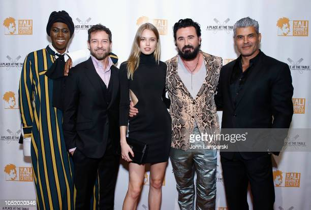 """Miss J. Alexander,Ian Bohen, Megan Irminger, Chris Salgardo and Mike Ruiz attend """"A Place At The Table"""" 2018 Ali Forney Center benefit at Cipriani..."""