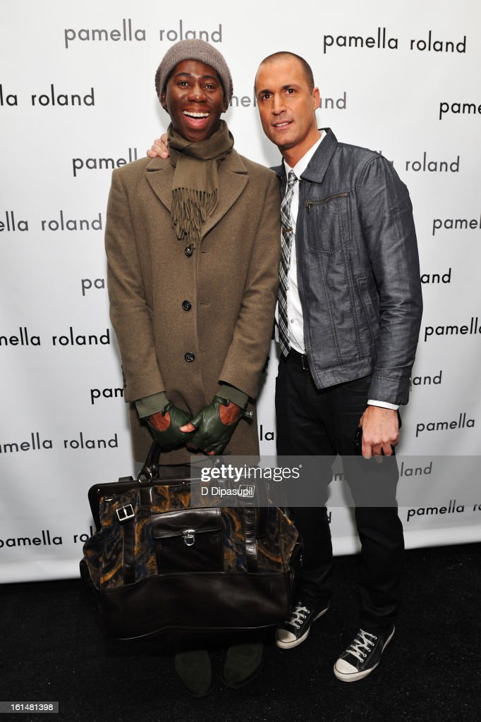 Miss J and photographer Nigel Barker pose backstage at the Pamella Roland Fall 2013 fashion show during Mercedes-Benz Fashion Week at at The Studio at Lincoln Center on February 11, 2013 in New York City.