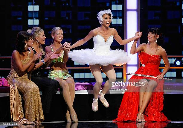 Miss Jackie Geist Miss California leaps in the air after being named a top 10 finalist as other contestants Emily Ann Cox Miss Kentucky Olivia Myers...