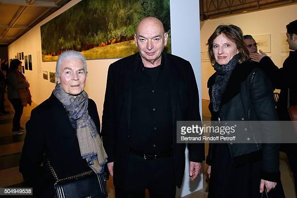 Miss Jacques ChabanDelmas Micheline Jean Nouvel and Emmanuelle de Noirmont attends the 'Jean Nouvel and Claude Parent Musees a venir' Exhibition...