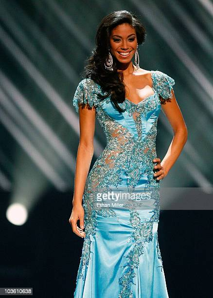 Miss Jamaica 2010 Yendi Phillipps competes in the 2010 Miss Universe Pageant at the Mandalay Bay Events Center August 23 2010 in Las Vegas Nevada