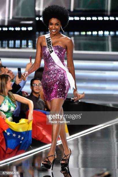 Miss Jamaica 2017 Davina Bennett competes during the 2017 Miss Universe Pageant at The Axis at Planet Hollywood Resort Casino on November 26 2017 in...