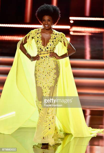 Miss Jamaica 2017 Davina Bennett competes in the evening gown competition during the 2017 Miss Universe Pageant at The Axis at Planet Hollywood...