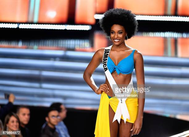 Miss Jamaica 2017 Davina Bennett is named a top 10 finalist during the 2017 Miss Universe Pageant at The Axis at Planet Hollywood Resort Casino on...