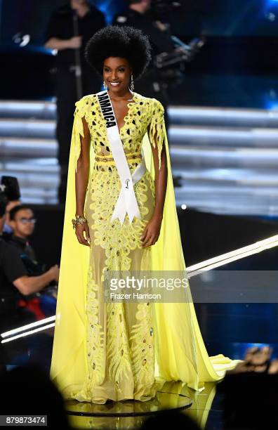 Miss Jamaica 2017 Davina Bennett is named a top 3 finalist during the 2017 Miss Universe Pageant at The Axis at Planet Hollywood Resort Casino on...