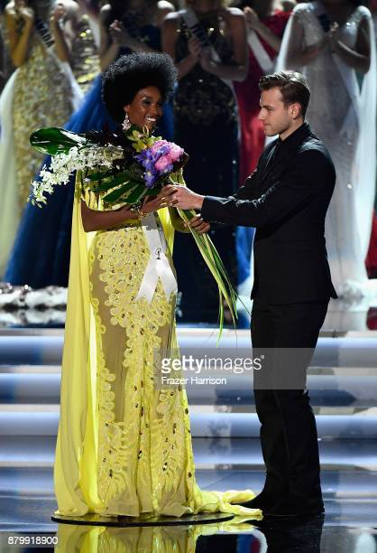 Miss Jamaica 2017 Davina Bennett reacts as she is named 2nd runnerup during the 2017 Miss Universe Pageant at The Axis at Planet Hollywood Resort...