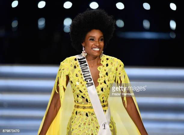 Miss Jamaica 2017 Davina Bennett reacts to being named a top 3 finalist during the 2017 Miss Universe Pageant at The Axis at Planet Hollywood Resort...
