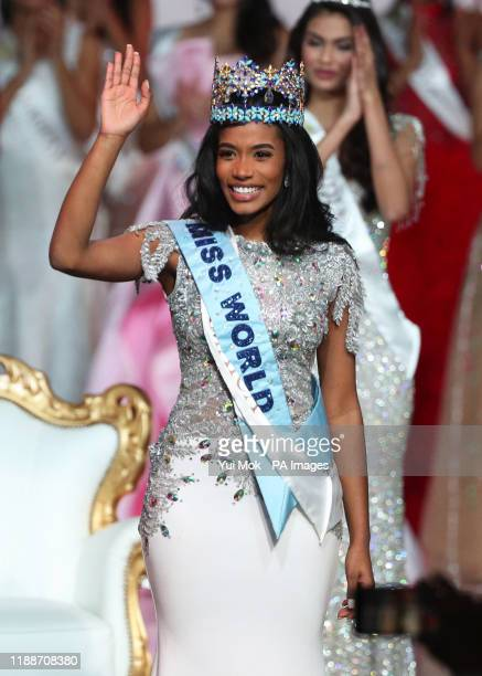 Miss Jamaica 2019, Toni-Ann, waves as she is announced Miss World 2019, during the 69th Miss World annual final at the ExCel London.