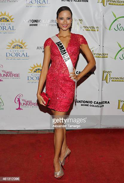 Miss Jamaica Kaci Fennell arrives at Solare Garden in preparation for the 63rd Annual Miss Universe Pageant on January 10 2015 in Doral Florida