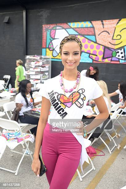 Miss Jamaica Kaci Fennell attends Miss Universe Pop Art Experience with Romero Britto in Wynwood at Britto Central on January 11 2015 in Miami Florida